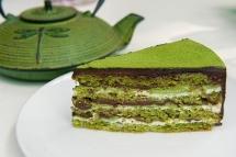 Pastel de té verde con chocolate